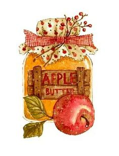 Apple Butter in a jar Decoupage Vintage, Clipart, Food Illustrations, Illustration Art, Jessie Willcox Smith, Pintura Country, Country Paintings, Paper Crafts, Diy Crafts