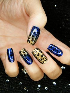 #blueandgoldpromspirit Gold and blue leopard print nails by Panterka #trythisnail