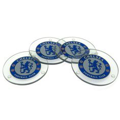 CHELSEA Set of 4 Glass Coasters featuring the Chelsea FC badge. Official Licensed Chelsea coasters. FREE DELIVERY ON ALL OF OUR GIFTS