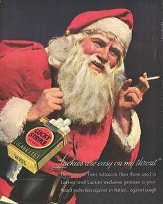 Men's Ladies T SHIRT retro vintage advertising Lucky Strike cigarettes Santa Retro Advertising, Retro Ads, Vintage Advertisements, Vintage Ads, Vintage Posters, Vintage Images, Advertising Archives, Vintage Santa Claus, Vintage Santas