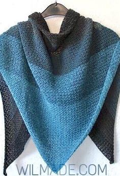Simple triangle shawl pattern for crochet beginners - Never ending Shawl Crochet Prayer Shawls, Crochet Shawl Free, Tunisian Crochet Patterns, Crochet Shawls And Wraps, Crochet Scarves, Crochet Clothes, Knitting Patterns, Poncho Patterns, Crochet Vests
