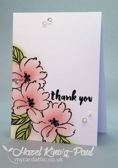 My Card Attic: Altenew Wild Hibiscus + Painted Greetings Thank You card
