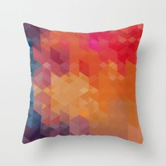 Geometric Throw Pillow Cover Red, Blue, Orange and Yellow Spectrum Modern Polygon Pattern