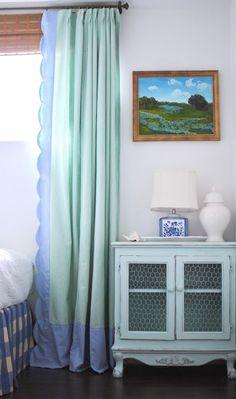 trim. a great way to make a cheap short curtain longer