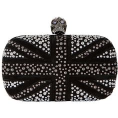 Alexander McQueen black and silver-tone leather studded Britannia box... found on Polyvore
