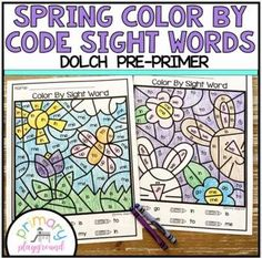 Spring Color By Code Sight Words Dolch Pre-Primer - Primary Playground