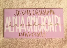 Customizable Sorority Canvas for Big/little Week! Alpha Omicron Pi at Texas Christian University (TCU)