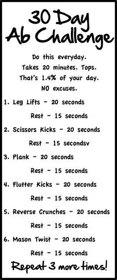 I started my 30 Day Ab Challenge on April 1st, 2013. I've been doing this routine everyday and will take daily pictures of my progress. I got this fitness inspiration from http://m.skinnyms.com/fabulous-abs-in-30-days-challenge/