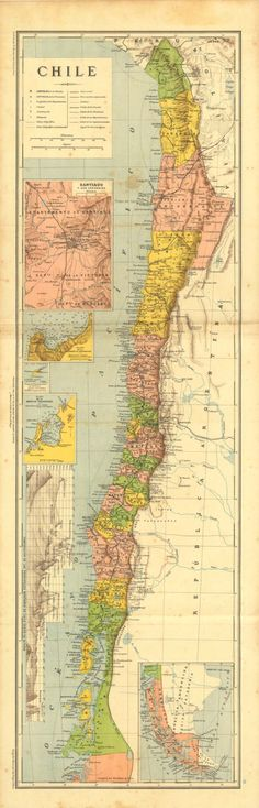 Antique Map of Chile 1905 #map #chile