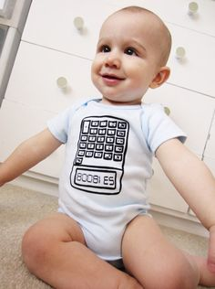 $18.00    5318008 upside down on a calculator reads BOOBIES (remember that from middle school?!). The perfect statement for a baby with brains. Image is