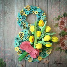 Квиллинг 8 марта, бумажные цветы