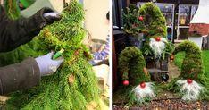 Kreatívne DIY nápady a návod na vianočné dekorácie - záhradní vianoční škriatkovia z vetvičiek, konárikov, čečiny, machu. Prírodný vianočný škriatok