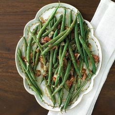 Freshen up your Thanksgiving side dish spread by adding this quick and easy Green Beans & Pancetta with Whole-Grain Mustard Dressing recipe.