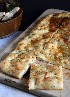 Simple Garlic Oil Focaccia   The Housewife in Training Files.   Cheat - made with store bought pizza dough (TJs)
