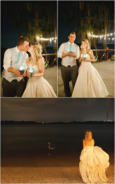 Such a sweet just-married pics of Jennifer + Jason, love the idea of holding candles...and the one of Jennifer looking out at the ocean at night....stunning! Such a gorgeous destination wedding at Paradise Cove, Florida. photography - Andi Mans, blush pink wedding gown - Lea-Ann Belter Stephanie
