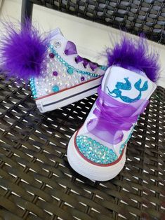 Bling Converse, Bling Shoes, Bedazzled Shoes, Baby Girl Shoes, Baby Boy Outfits, Girls Shoes, Mermaid Shoes, Frozen Themed Birthday Party, Mermaid Party Decorations