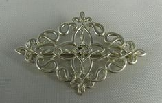 Vintage Sterling Silver Open Scroll Work Brooch by TheFashionDen, $23.00