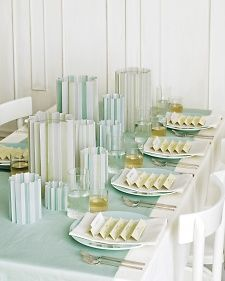 For an elegant spin on the straight and narrow, try these dimensional candle covers.
