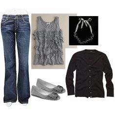love the gray & love that tank, necklace, and those shoes!!