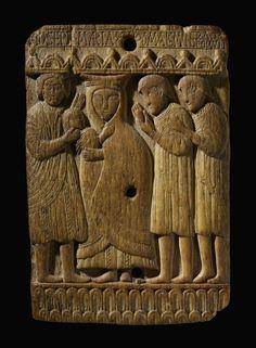 Plaque; rectangular; whalebone; Adoration of the Magi.