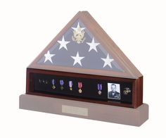 Medal Display Case Cherry Finish