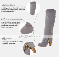 Zapatos de mujer - Tacón Robusto - Botas a la Moda - Botas - Vestido / Fiesta y Noche - Ante - Negro / Marrón / Rojo / Gris 2015 – €26.59