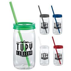 Promotional Liberty 20 oz Square Mason Jar | Customized Liberty 20 oz Square Mason Jar | Promotional Plastic Mason Jars