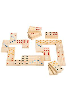 Greensport Giant Dominoes | EziBuy | Giant Dominoes is a fun and challenging game for all ages. 28 pieces per set. Each wooden piece measures 13.3 x 6.5 x 1.7cm. Due to Australian Quarantine Checks, items containing natural materials (example: wood, mdf, flax or stones) may take an additional 10 working days to be delivered.