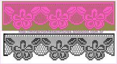 MIRIA CROCHÊS E PINTURAS: ESQUEMAS PARA BARRADOS DE CROCHÊ DE FILÉ N°400 Filet Crochet Charts, Crochet Motifs, Crochet Borders, Crochet Flower Patterns, Crochet Designs, Crochet Flowers, Crochet Lace, Crochet Stitches, Fillet Crochet