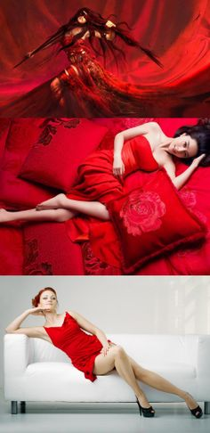 On a red bed, Woman in Red