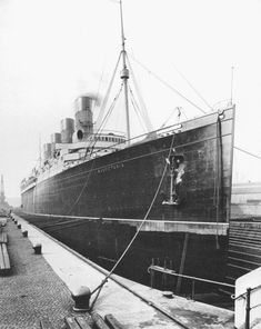 A splendid shot of the Mauretania in dry dock in Liverpool, showing off the fine lines of her hull. She and her sister truly were Greyhounds of the North Atlantic. Liverpool Docks, Liverpool History, Liverpool Street, Rms Mauretania, Merchant Navy, Rms Titanic, Armada, British History, Water Crafts