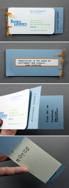 What a great business card upcycle for a marketing conference Unique Business Cards, Craft Business, Business Card Design, Business Advice, Better Homes And Gardens, Conference, Upcycle, Branding Design, Card Making