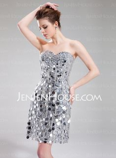 Cocktail Dresses - $199.29 - A-Line/Princess Sweetheart Short/Mini Satin Sequined Cocktail Dresses With Beading (016019189) http://jenjenhouse.com/A-Line-Princess-Sweetheart-Short-Mini-Satin-Sequined-Cocktail-Dresses-With-Beading-016019189-g19189