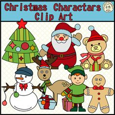 This clip art set contains the following images: Santa Clause, Snowman, 2 Teddy Bears, Rudolf, Penguin, Gingerbread Man, Elf, Christmas tree, A boy with Christmas tree.
