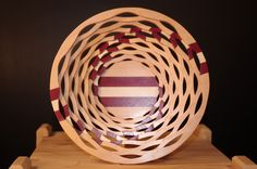 Segmented bowl made from birch, purple heart and ash,