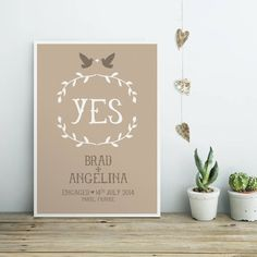 'Yes', a personalised engagement or wedding print.A range of sophisticated colours is available.Engagements and weddings are such big moments in life; this print is a wonderful way of commemorating the event and makes a unique and personal gift. It's not just for the recently engaged or married - this makes a wonderful anniversary gift, especially for couples whose special day happened before personalised gifts such as these were accessible.300gsm acid-free white card Archival quality ...