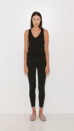 T by Alexander Wang Rib Knit Fitted Legging Basic Tees, Workout Leggings, Simple Style, Alexander Wang, Rib Knit, Black Jeans, Stylish, Fitness, Casual