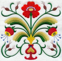 Swedish embroidery motif -- Folk Art Square