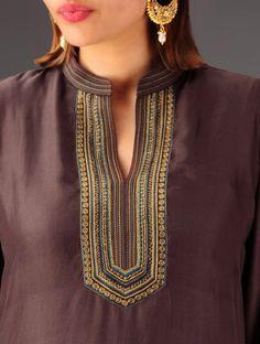 Dark Brown Embroidered Silk Kurta Cardigan, Embroidered Silk, Indian Designer Wear, Indian Wear, Silk Dress, Dark Brown, Embroidery Designs, Fashion Dresses, Clothes For Women