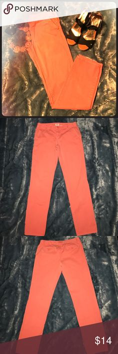 """Orange straight leg ankle pants Super cute orange cotton straight leg pants with pockets. I wore them as ankle pants, but they could be regular length on someone shorter than 5'6"""". 12 1/2"""" waist (laid flat), 30"""" inseam. Great pre-loved condition. I have the same pants in teal for sale as well. Mossimo Supply Co. Pants Straight Leg"""