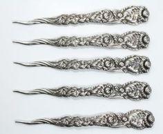Antique-19c-Tiffany-Co-Set-5-Chrysanthemum-Sterling-Silver-Nut-Picks-No-Mono