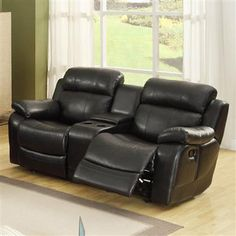 Merille Black Wood Fabric Double Glider Rocking Reclining Love Seat