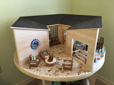 Round dollhouse; vintage dollhouse plans; mid-century dollhouse, overall view by Karin Myers