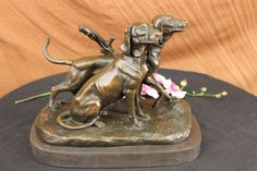 Two Large Vizsla Dog Dogs Animal House Pet by Fremiet Bronze Marble Sculpture NR | eBay