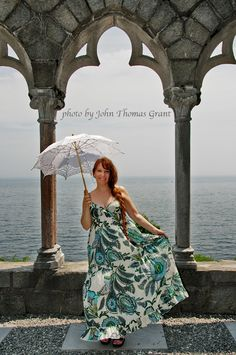 Author/historian Victoriana Lady Lisa on the grounds of Hammond Castle in Gloucester, Ma.