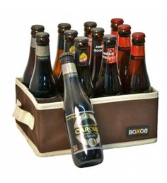 Elegant case with 12 typically Belgian beers Originally wrapped gift with 12 little bottles of Belgian beers.The four different types of beer are made in Brewery Het Anker.