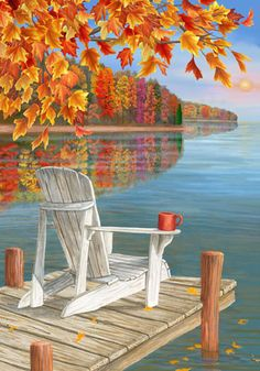 Fall garden flag shows an inviting scene with an Adirondack chair on dock of a lake surrounded by beautiful fall colors. Fall Canvas Painting, Lake Painting, Autumn Painting, Autumn Art, Painting & Drawing, Canvas Art, Fall Paintings, Fall Pictures, Pictures To Paint
