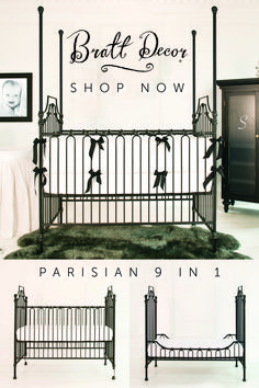 The Parisian 9 in 1 cast iron crib is the most convertible crib in the world, and is the height of elegance and grandeur for your child's nursery. The hand-applied finish offers an aged feel, while the silky smooth castings boast exceptional style and quality. The hand distressing tames the bold look and gives a wonderfully worn elegance. Kids Rooms, Kids Bedroom, Iron Crib, Cast Iron, It Cast, Convertible Crib, Nursery Furniture, W 6, Consumer Products