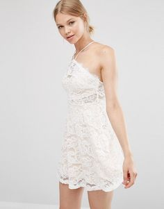 Love & Other Things Lace Skater Dress - White Fit N Flare Dress, Fit And Flare, Latest Fashion Clothes, Fashion Online, Lace Dress, White Dress, White Lace, Online Shopping Clothes, Lace Fabric