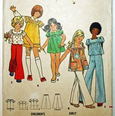 Vintage 1970s Sewing Pattern Butterick 3077 Girls'
